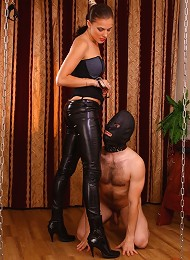 Masked slave with too much body hair lets his hot mistress step on his cock