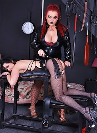Strict Jemstone whipping Tanya Cox and toy fucking her pussy