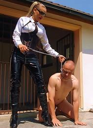 Mistress Gina Dominates Man Slave and Treats Him Like a Dog, in BDSM FemDom Scenario!