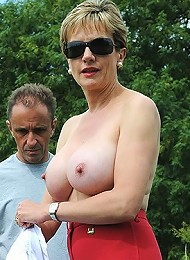 Outdoor busty domme