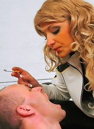 Biker Babe Humiliates, Torments and Tapes up Submissive Mechanic